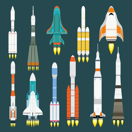 engine flame: Rocket set vector and technology ship rocket cartoon design. Science future travel rocket and retro shuttle fly rocket. Speed galaxy fantasy rocket and futuristic spacecraft, astronaut modern element.