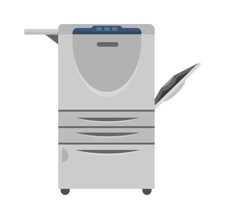 Office multifunction printer copy machine and copy machine paper office printer. Business copy machine and vector technology equipment photocopy copy machine. Digital scan modern secretary. Illustration