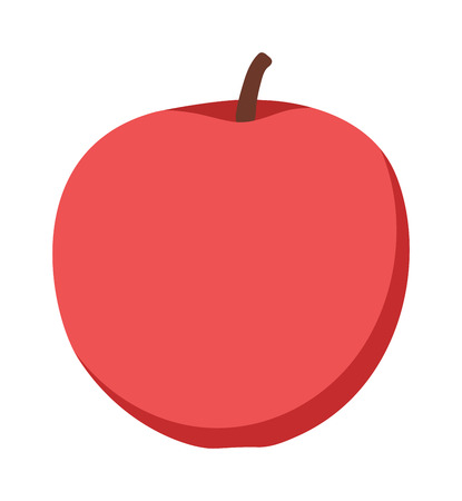 red apple: Fresh red apple on white background and red apple vector icon. Red apple organic, freshness and fresh healthy red apple fruit. Apple nutritious ecology organic eat diet natural dessert color fruit. Illustration