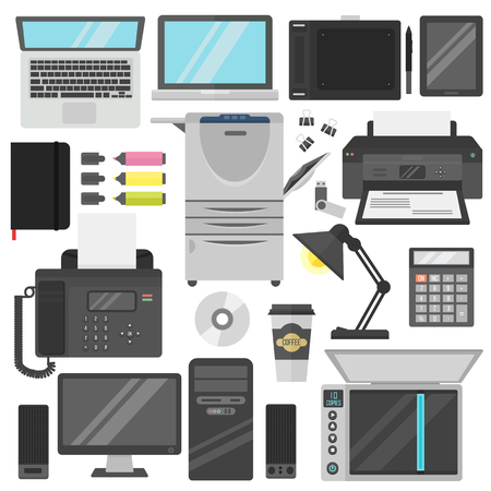 office paper: Group computer office equipment. Laptop, monitor, tablet pc, smart phone printer keyboard. Computer office equipment digital photo camera, computer mouse and computer office equipment hard disk drive.