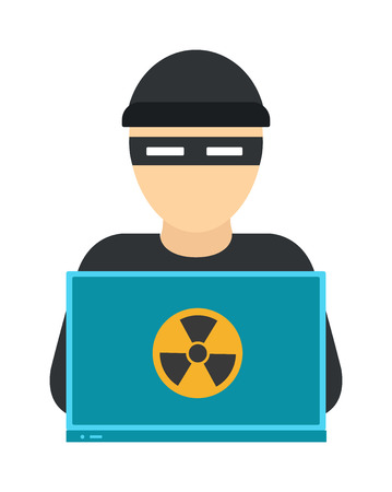 Hacker on laptop. Hooded computer hacker stealing information with laptop and computer hacker laptop. Theft danger programmer hack, stealing computer hacker anonymous secure fraud man.