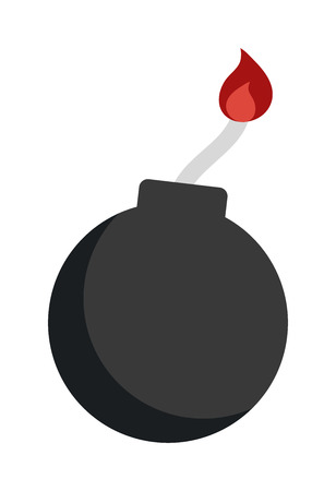 cartoon bomb: Bomb with burning wick weapon flat vector dynamite sphere bomb. Cartoon dynamite bomb with sparkle flame. Dynamite bomb with burning wick danger explosive weapon flat vector. Illustration