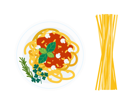 bolognese: Spaghetti pasta with tomato slices on white background. Italian dinner pasta dish and lunch plate pasta plate. Pasta dish tomato cuisine spaghetti and pasta dish delicious cheese gourmet healthy.