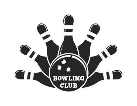 strike: Vector set of bowling logos, bowling logo emblems and bowling logo design elements. Bowling logo logotype templates and bowling logo badges. Bowling logo wings victory, bowling ball sport item.