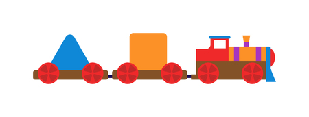 toy train: Cartoon toy train with colorful blocks isolated over white and toy train vector set. Toy train color railroad and cartoon carriage game toy train fun leisure joy gift. Locomotive transportation set. Illustration