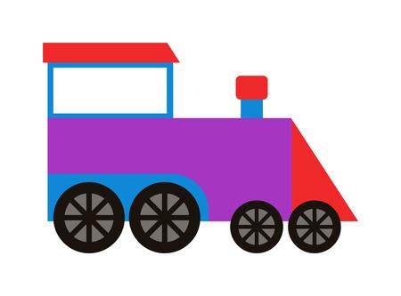tren de juguete de dibujos animados con bloques de colores aislados sobre el conjunto de vectores blanco y tren de juguete. tren de juguete de color del ferrocarril y tren de juguete de dibujos animados del carro juego de regalo alegría diversión de ocio. Conjunto de transporte locomotora. Ilustración de vector