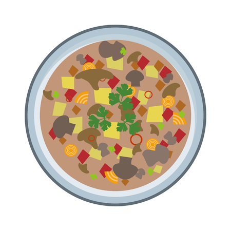 meat soup: Soup vector on white background, top view. Vegetarian soup plate. Vegan natural soup concept, no meat. Soup plate isolated