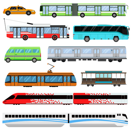 bus station: City transport set and public city transport: taxi, bus, subway, train. City transport vector flat illustrations and traffic vehicle street city transport. Tourism modern business taxi truck. Illustration