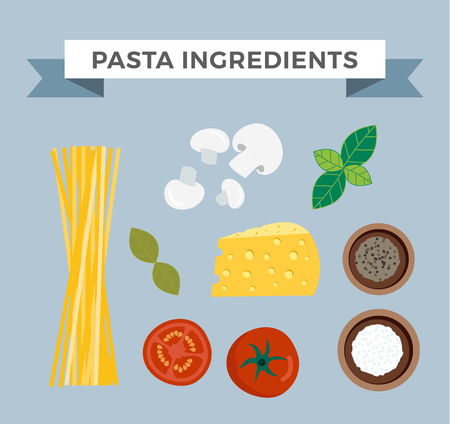 spaghetti dinner: Raw pasta with ingredients on white background and pasta ingredients cuisine spaghetti ingredient. Vector pasta ingredients mediterranean vegetarian garlic and cheese space pasta ingredients.