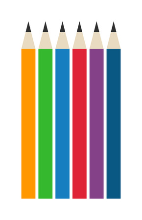ballpoint: Vector color pencils illustration office supply design. Colored plastic pencils and ballpoint silver pencil set. Color pencils set education equipment and penils design ink school.