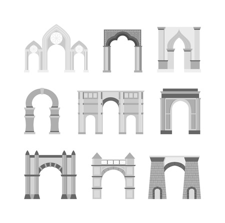 gateway: Arch vector set and architecture ancient frame arch. Column entrance design arch and arch classical construction. History antique culture pillar exterior facade arch. Ornament gateway monument.