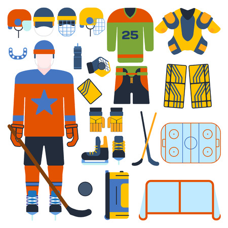 attribution: Hockey uniform set. Vector hockey uniform and accessory in flat style. Isolated hockey uniform equipment and hockey uniform athlete. Hockey attribution clothes equipment and accessories.