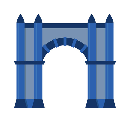 roman pillar: Arch vector architecture ancient frame arch. Column entrance design arch and classical construction arch. History antique culture pillar exterior facade arch. Ornament gateway monument. Illustration