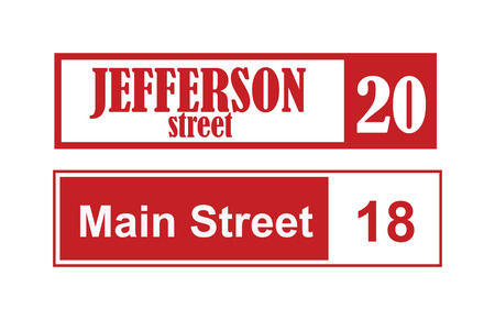main street: House number main street and vector street sign frame, house number plate design. Street sign wall frame and postel one urban house number. Street sign numeral architecture address symbol.