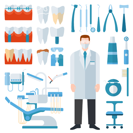 dental implants: Flat health care dentist symbols and medical research dentist symbols medical care. Healthcare system dentist symbols concept. Medicine dentist symbols and chemical engineering dentist symbols. Illustration