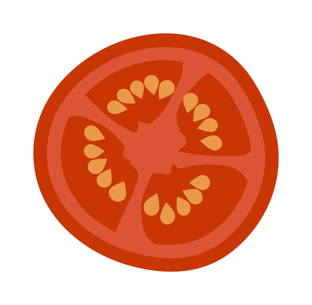 Fresh red tomato slice isolated on white. Tomato slice isolated vector red vegetable and food tomato slice isolated. Tomato slice isolated ingredient juicy vegetarian healthy food. Single tomato