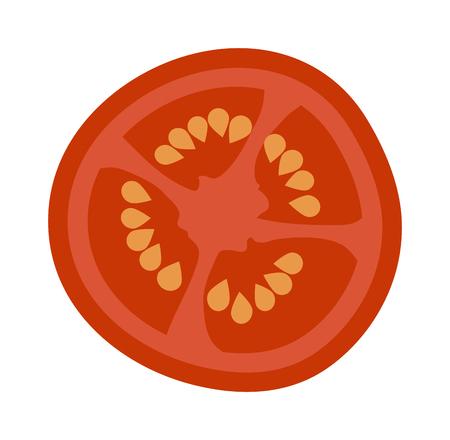 Verse rode tomaat slice geïsoleerd op wit. Tomaat slice geïsoleerd vector rode groente en voedsel tomaat slice geïsoleerd. geïsoleerd tomatenplak ingrediënt sappig vegetarisch gezond voedsel. enkele tomaat Vector Illustratie
