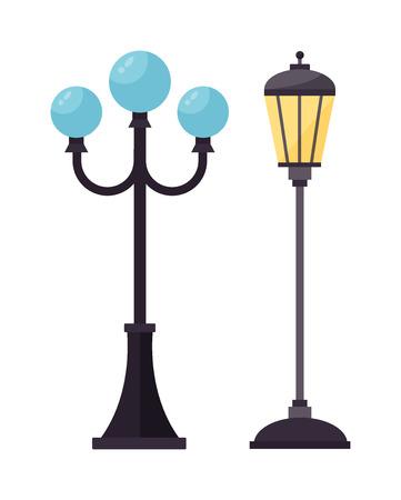 Oggetto strada industria elettrica strada lampada silhouette retrò in metallo e lampione d'epoca silhouette nera di vettore. Via lampada illustrazione piatta vettoriale. silhouette Street lamp Archivio Fotografico - 58146668