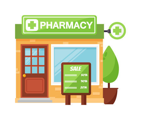 retail display: Vector pharmacy drugstore pharmacy shop design, store pharmacy shop and pharmacy shop front display design. Pharmacy shop medical drugstore healthcare pharmacist retail business design.