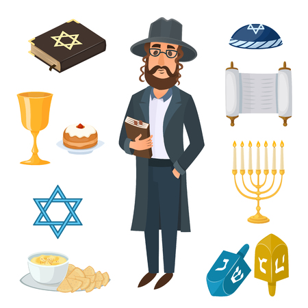 Judaism church traditional symbols icons set and jewish symbols isolated vector illustration. Jewish symbols traditional torah menorah and jewish symbols holiday hanukkah religious design. Reklamní fotografie - 58146610
