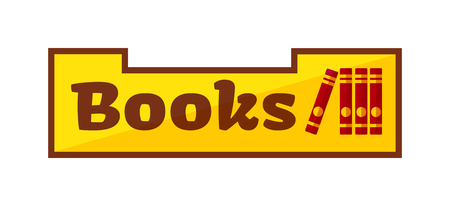 bookshop: Vector illustration with books shop signboard, storefront with books in flat style. Bookshop signboard store market street and business books shop signboard exterior bookshop literature kiosk.