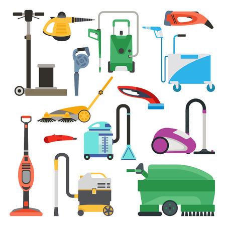 Professionele reinigingsmachines op een witte achtergrond. Vector reinigingsapparatuur gereedschap en service reinigingsapparatuur huishoudelijk gereedschap. House product chemische wasapparatuur. Stockfoto - 58146524
