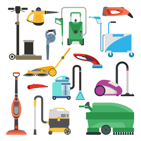 Professional cleaning equipment isolated on white background. Vector cleaning equipment tool and service cleaning equipment housework tools. House product chemical washing equipment. Illustration