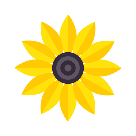 yelow: Flat yelow flower and flower icon. Nature home plant flower pot and spring decoration flower. Flower lgarden bloom flat vector. Spring colorful garden flower yellow color