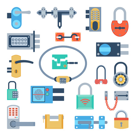 safeguard: Lock icons set and security padlock protection lock. Safety password sign lock privacy element and access shape open lock. Private lock set safeguard modern firewall equipment vector collection.