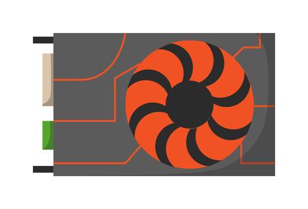 vga: tarjeta de video con tres salidas en el fondo y la tecnología informática tarjeta de vídeo en blanco y equipos. Tarjeta gráfica de vídeo digital y tarjeta de vídeo VGA negro de semiconductores. tarjeta de vídeo electrónica.