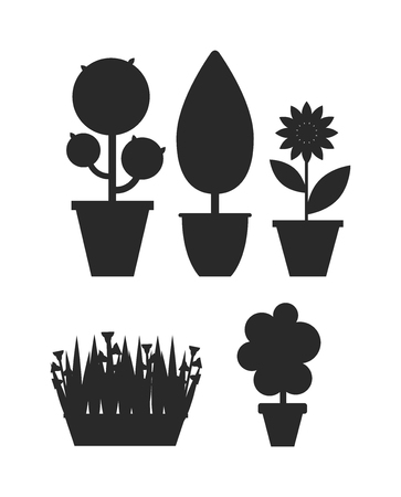 home gardening: Home bush plant in pot culture black silhouette on white background set of indoor home plant and tree in pots. Home pot plant tree plants with flowers and leaves. Botany gardening flower home tree.