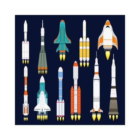 spacecraft: Rocket vector and technology ship rocket cartoon design. Science future travel rocket and shuttle fly rocket. Speed galaxy fantasy rocket and futuristic spacecraft, astronaut modern element. Business start concept