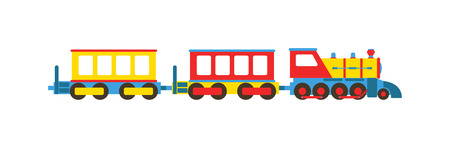 game over: Cartoon toy train with colorful blocks isolated over white and toy train vector set. Toy train color railroad and cartoon carriage game toy train fun leisure joy gift. Locomotive transportation.