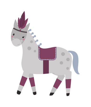 horse show: Vector illustration of little grey circus horse and circus horse isolated on white. Grey carnival circus horse and equine performance foal circus horse. Beautiful carousel amusement farm animal.