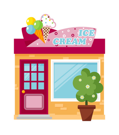 ice cream bar: Cold ice cream bar and ice cream store vector. Fresh ice cream store summer cold product and frozen delicious ice cream store. Tasty ice cream store front and ice cream showcase tasty market.