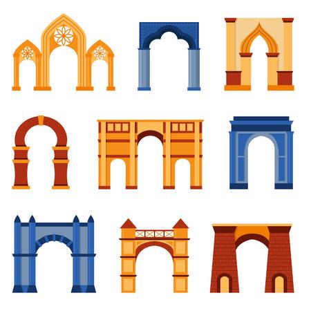roma antigua: Arco conjunto de vectores y la arquitectura antigua marco de arco. Columna de diseño arco de acceso y la construcción clásica del arco. Historia antigua cultura pilar arco fachada Exter. monumento pasarela de adorno.