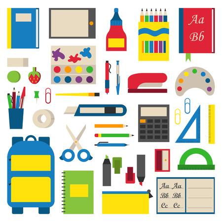 흰색 배경에 vaus 개별 학교 용품의 선택. 학생 도구 학교 용품 학교 용품 학습 종이 액세서리. 컬렉션 역동적 인 재료 학교 용품. 일러스트