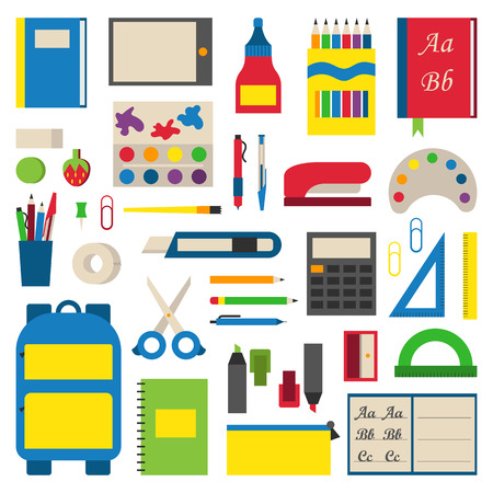 Selection of various individual school supplies on white background. Student tools school supplies and paper accessories learning school supplies. Collection vibrant materials school supplies. Vectores