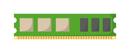 computer cpu: Memory module slot isolated and Memory slot vector icon. Memory slot part of PC memory module and memory slot computer slot chip motherboard circuit electronic card. Hardware component chip. Illustration
