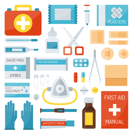 emergency kit: First aid kit isolated on white background and first aid symbols vector. First aid symbols medical symbol emergency sign and kit cross first aid symbols. Assistance equipment case safety sign.