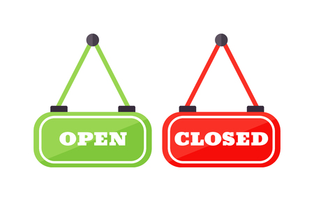 Vector open and close door sign. Label with text open and close sign in flat style. Vector illustration open and close sign door information retail design. Open and close icons Vettoriali