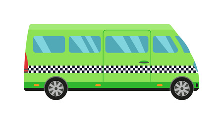 Taxi green bus car isolated on white background. Vector green taxi bus van and cab transport traffic urban yellow taxi. Road street service taxi bus car isolated, Van truck taxi bus Illustration
