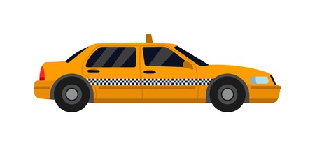 yellow taxi: Taxi yellow car isolated on white background. Vector yellow taxi van and cab transport traffic urban yellow taxi. Road street service yellow taxi car isolated, Van truck taxi bus Illustration