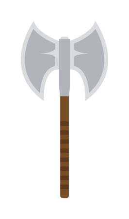 cartoon axe: Axe steel weapon isolated and sharp axe flat weapon weapon icon isolated on white and knight axe cartoon flat icon of handle war work equipment vector illustration.