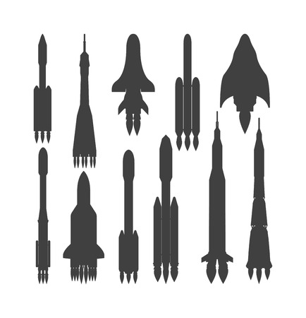 ship sky: Rocket black silhouette vector and ship rocket cartoon design. Black silhouette travel rocket and shuttle fly rocket. Speed galaxy fantasy rocket and futuristic spacecraft, black silhouette