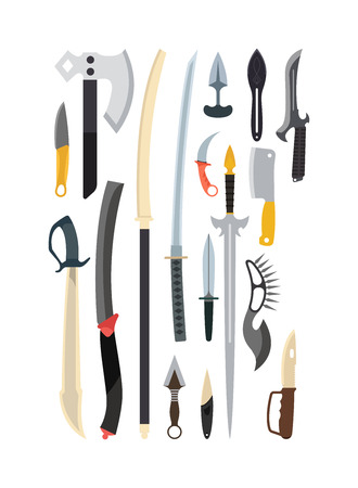 excalibur: Knifes weapon collection. Vector illustration of swords, knifes, axe, spear. Edged weapons vector weapon set. Combat knifes andbonder knives, bayonet knife, swat knifes. Cold steel arms. Illustration