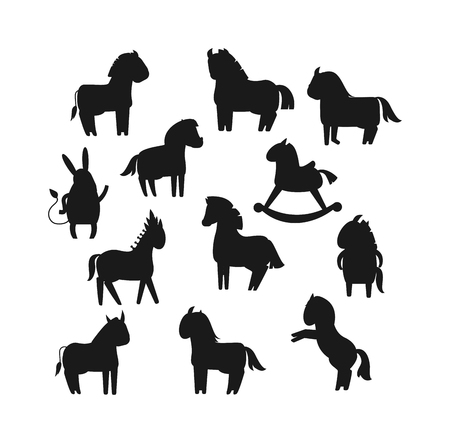 animal mouth: Cartoon horses black silhouette on white background and cartoon horse vector set. Cute cartoon horse black silhouette farm animals and cartoon horse happy mane. Black silhouette cartoon horses.