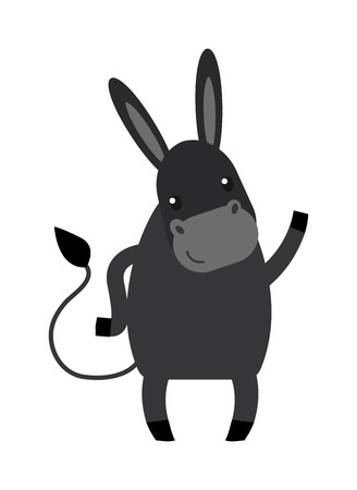 mule: Cartoon happy donkey and cute smile horse cartoon donkey. Cartoon donkey farm domestic mammal. Farm animal mule cartoon donkey. Funny cartoon gray donkey farm animal character vector. Illustration