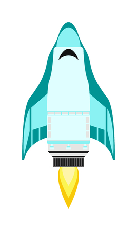 product innovation: Vector rocket isolated on white and technology ship rocket cartoon design. Science future travel rocket and shuttle fly rocket. Speed galaxy fantasy rocket and futuristic spacecraft, astronaut rocket Illustration