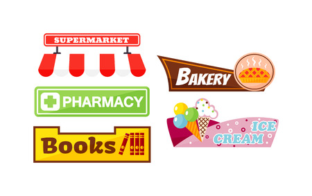 bakery store: Shop signboard vector set. Vintage shop signboard elements bakery shop, pharmacy sign, book store. Shop signboard vector retro ice cream store label set. Shop signboard design billboard sign. Illustration